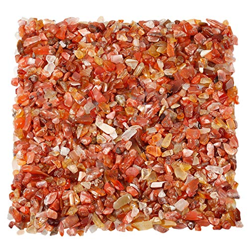 KYEYGWO Chips de cornalina de piedra natural triturada para decoración, grava de cristal de cuarzo,...
