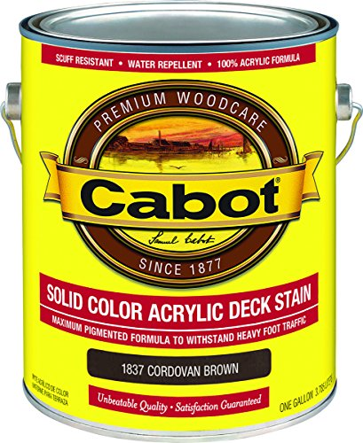 Cabot/Valspar 1837-07 Solid Color Acrylic Deck Stain Cordovan Brown - Gallon - Quantity 4