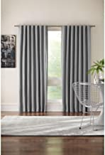 Home Decorators Collection 84 in. L Gray Polyester Back Tab Curtain