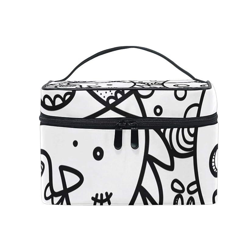 生む強盗味方メイクボックス タチア語中国語柄 化粧ポーチ 化粧品 化粧道具 小物入れ メイクブラシバッグ 大容量 旅行用 収納ケース