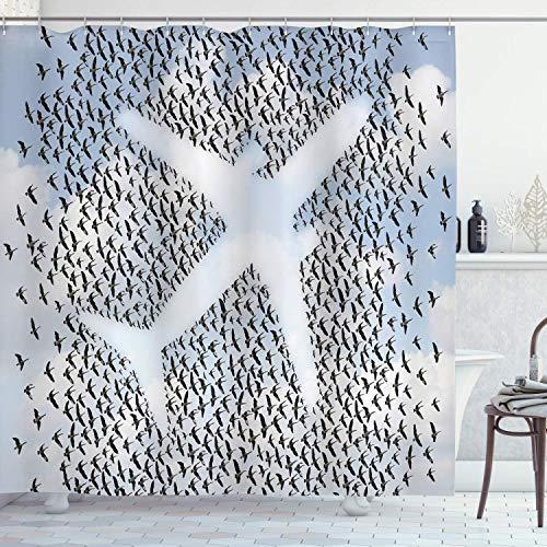 Duschvorhang Flugzeug im Himmel mit Tauben Vogel Kolibri Herde Abenteuer Urlaub Stoff Stoff Badezimmer72 '
