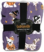 Berkshire Goblinville Monstrously Plush Dogs Dressed in Costume Trick or Treat Halloween Plush Throw