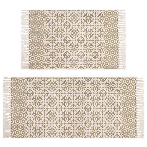 Famibay 2PC Baumwolle Teppich Handgewebte Teppich mit Quasten für Küche Wohnzimmer(Khaki,60x90cm...