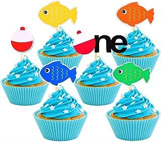 JeVenis Fishing Birthday Cake Topper Gone Fishing Cupcake Toppers The Big One Cake Topper for Fishing theme Birthday Party Supplies 30 PCS