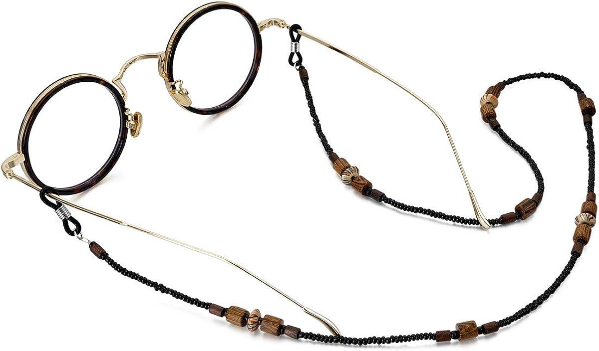 Passage 7 Vintage Bohemian Wooden USA Beads Made Denver Mall Excellent Chain Eyeglass