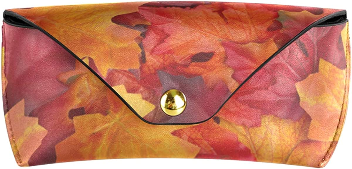 Autumn Leaf Goggles Bag School Sunglasses Case Eyeglasses Pouch PU Leather Multiuse Portable
