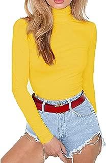 Women Stretchy Turtleneck Long Sleeve Bodysuits Basic Solid Color Bodycon Leotard