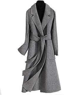 HuiSiT Women's Woolen Coat Double-Sided Herringbone Coat Medium and Long Style Autumn Winter Cashmere Warm Overcoat