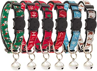 PUPTECK 6 PCS Christmas Cat Collar with Bell - Soft Adjustable Breakaway Safety Kitten Collar