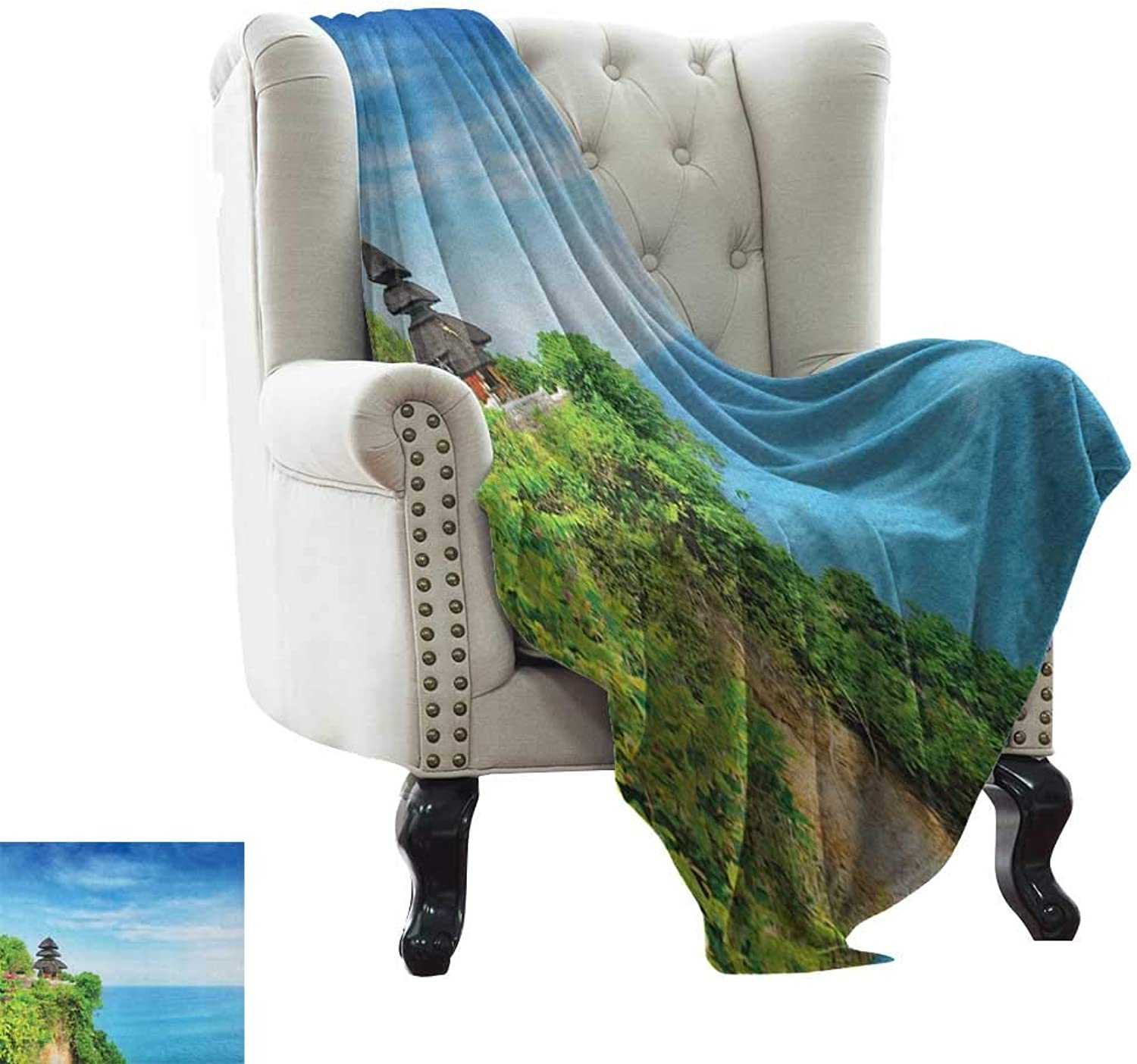 Fluffy Blanket Balinese,Uluwatu Temple Bali Indonesia Seacoast Cliff Horizon Summer Seascape Nature Print, bluee Green Weighted for Adults Kids, Better Deeper Sleep 60 x62