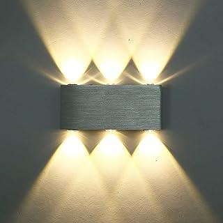 SISVIV Apliques de Pared 6 LED 6W Lámpara de Pared Interior Luz Moderno Para Dormitorio Escalera Pasillo KTV Salon Blanco ...