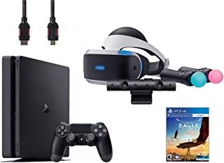 PlayStation VR Start Bundle 5 Items:VR Headset,Move Controller,PlayStation Camera Motion Sensor,Sony PS4 Slim 1TB Console - Jet Black,VR Game Disc Eagle Flight