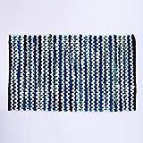 Homevibes Nuevo Alfombra Estilo Hindu, Tejida A Mano, Medidas 50x80cm, Alfombra de Comedor, Alfombra, Alfombra de 100% Algodon (Azul)