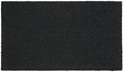 mDesign Rectangular Coir and Rubber Entryway Doormat with Natural Fibers for Indoor or Outdoor Use - Neutral Design - Black