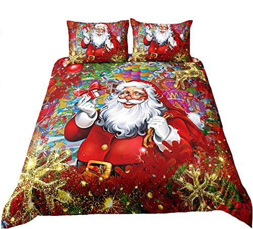 Suncloris, Merry Christmas Duvet Cover Set, Kids Soft Lightweight Cartoon Santa Claus Christmas Tree & Sweet Candy Bedding Sets. Included: 1 Duvet Cover, 2 Pillowcase (no Comforter Inside)(02, Full)