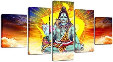 Chuixiaoxiao1 HD Printed Decor Home Living Room Wall Art Painting 5 Pieces Hindu God Lord Shiva and Sunshine Landscape Canvas Pictures Modular