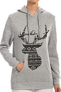 Ava Adorn Women's Fair Isle Reindeer Fleece Lined Hoodie
