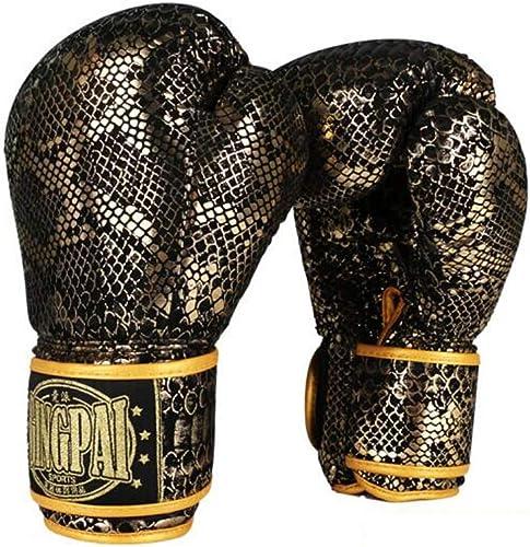 KUQIQI Gants de Boxe Muay Thai, male Adulte, Gants Sanda, Combats, Combats, Formation, Gants, Sacs de Sable, Gants à Motif Python Professionnels, Or Noir Adulte Gants de Boxe de Sport,