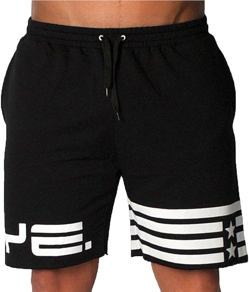 Misaky Men's Flag Stars Sporting Beaching Bodybuilding Sweatpants Short Jogger Gyms Short