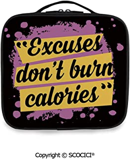 SCOCICI Large Capacity Travel Handle Wash Bag Fitness Motivation Quote Excuses Dont Burn Calories Artistic Modern Design Decorative Organize Personal Items for Women Girls