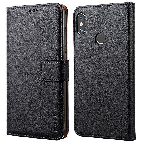 Peakally Hülle für Xiaomi Redmi Note 5 Pro/Note 5, Premium Leder Tasche Flip Wallet Schutzhülle [Standfunktion] [Kartenfächern] [Magnetischen Verschluss] Handyhülle für Redmi Note 5 Pro -Schwarz