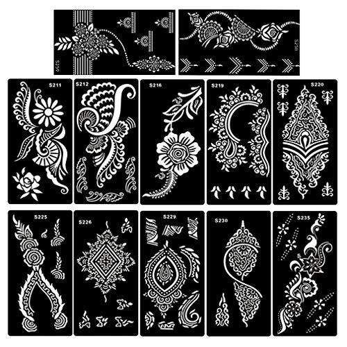 Xmasir Henna Tattoo Schablonen für Körperbemalung,Mehndi Indian Template (12pcs / lot) Blume Hand Henna Glitter Airbrush Tattoo Schablone
