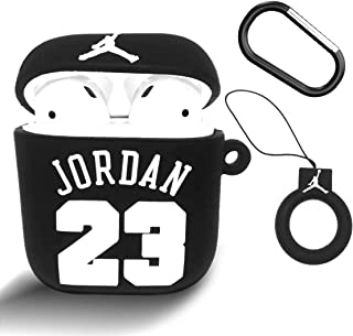 Woocon for Jordan Airpods Case,Kawaii Cute Character Cartoon Silicone Protective Cover Accessories Airpods Keychain Case Compatible with Airpods (Black)