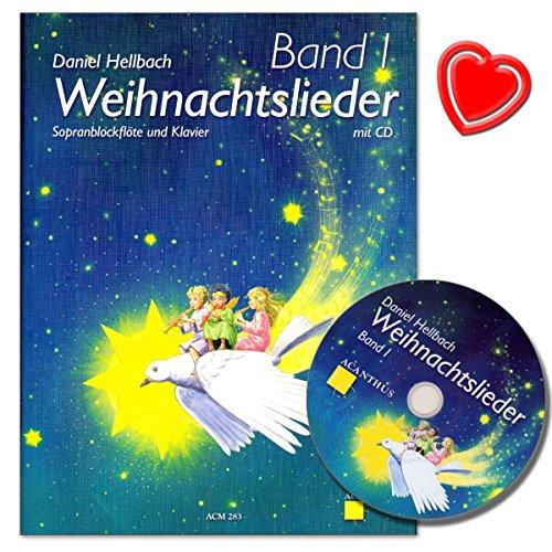 Kerstlieden band 1 voor sopraanblokfluit en piano met CD en kleurrijke hartvormige notenklem - kerstliederboek van Daniel Hellbach