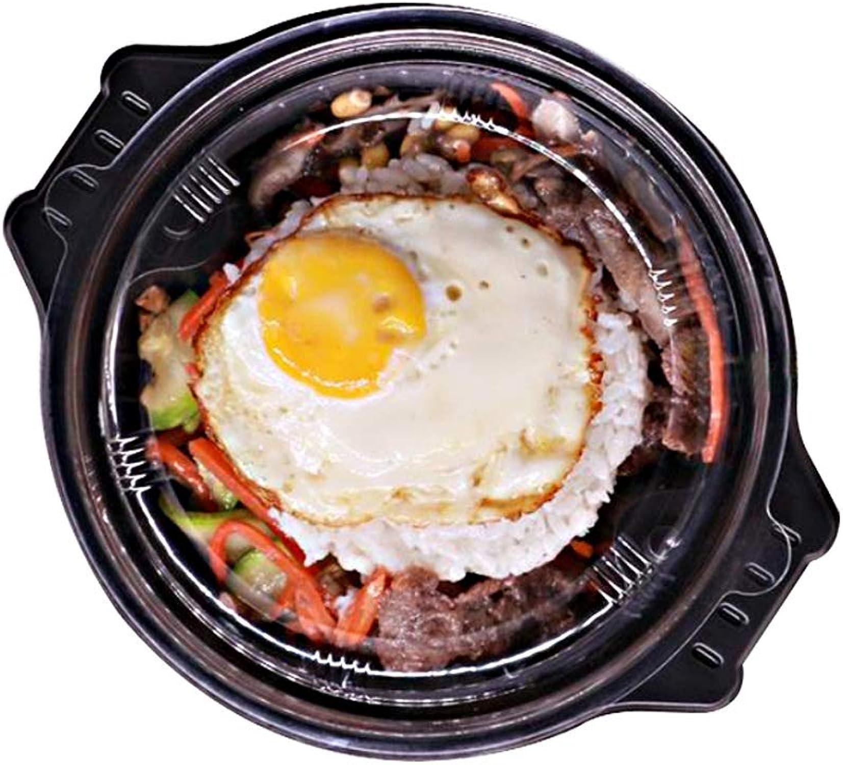 Bol - Boîte à lunch jetable en plastique de grande capacité - Boîte de rangeHommest RaHommes pour couverts de salades de pates rondes [Emballage de 100] tableware