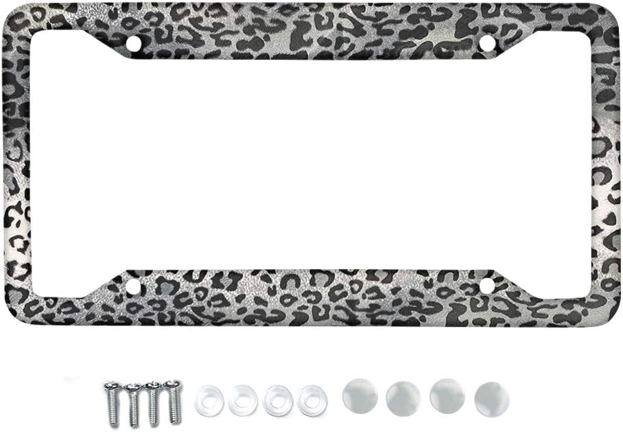 WELLFLYHOM Leopard Print License Plate Frame for Women Girls Stylish Aluminum Metal License Plate Car Tag Novelty Home Decoration 6 Inch X 12 Inch Cheetah Print Silver Gray