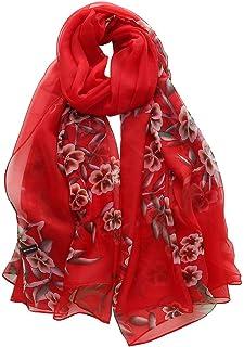 496007cc28 Mode Femme Écharpe Fleur Imprimé,Longue Châle en soie Souple Wrap Foulards  Bringbring