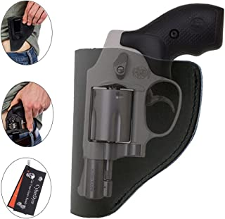 CyberDyer Ultimate IWB Holster Leather Right Hand Pistol Holster for Belts Fits Most Part J Frame 38 Special Revolver Ruger LCR Smith and Wesson Bodyguard Taurus
