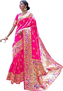 Pink Indian Ethnic Wedding & Party Saree Pure PAITHANI Kaarigari Silk Sari Women Blouse Heavy Zari Pallu 8331