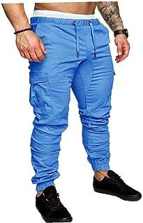 LAANCOO Coulisse Pantaloni Uomo di Cargo Pants Pantaloni Sportivi Essendo Streetwear Pantaloni Multi-Tasca Joggers M