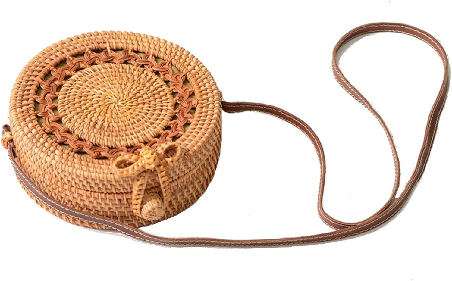 Ainico Handwoven Rattan Round Bag Shoulder Leather Straps for Outdoor Leisure