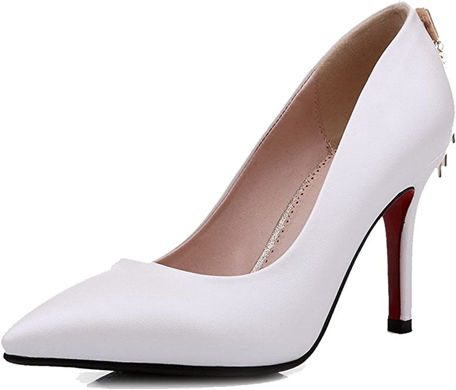 Tirahse Comfortable Women's Soft Material Pointed Closed Toe High-Heels Pull-on Solid Pumps-shoes