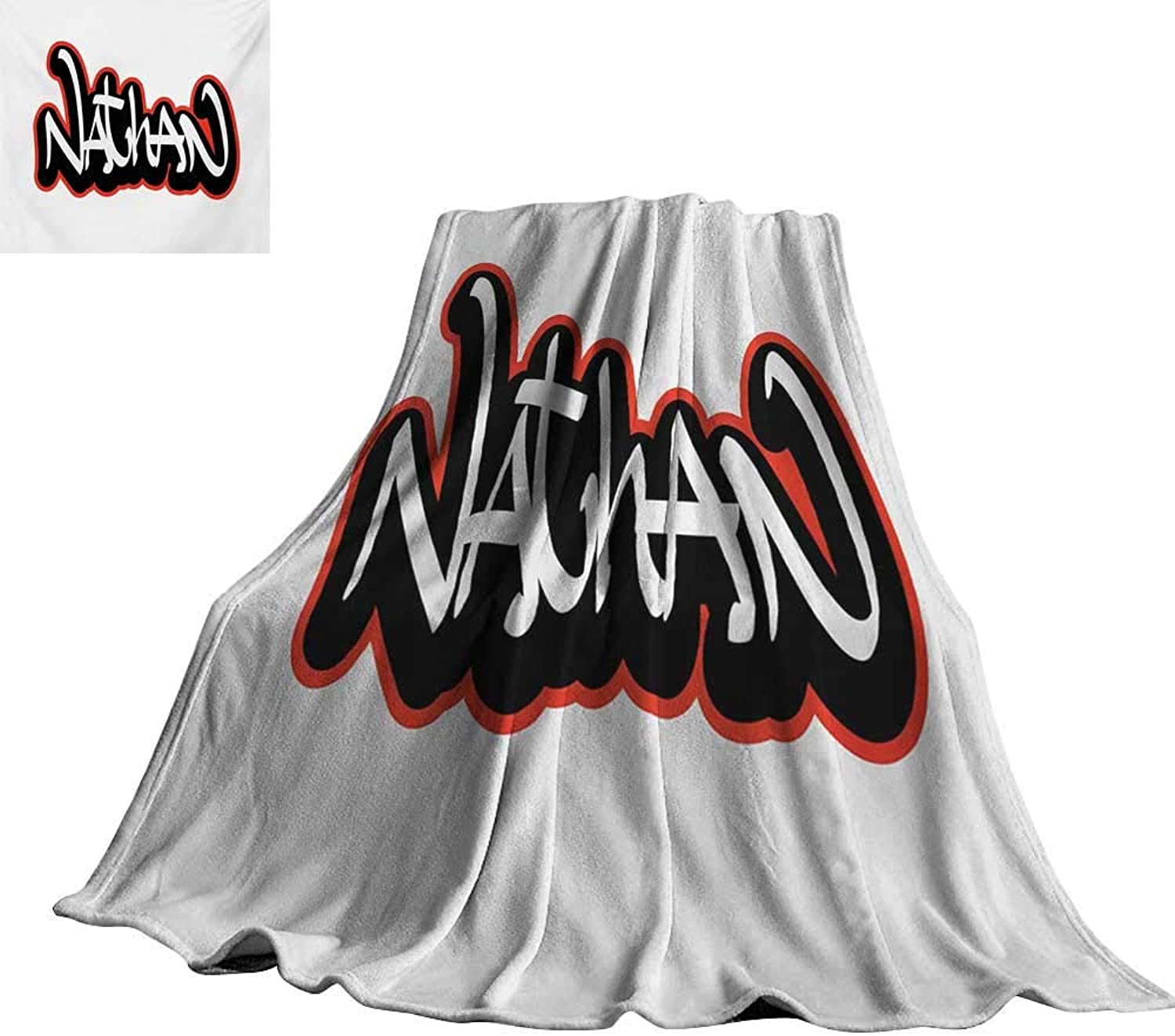 RenteriaDecor Nathan,Soft Lightweight Blanket Artistic Boys Name Graffito Wall Writing Design for Men Doodle Style Lightweight Plush Throws 60 x50