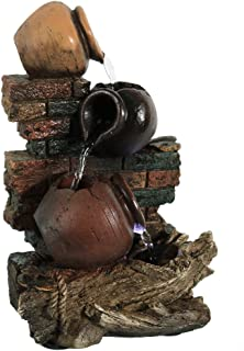 Sunnydaze Rustic Brick Wall and Jugs Tabletop Water Fountain with LED Light, Indoor Relaxation Waterfall Feature, 10.5 Inch
