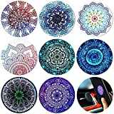 8 Pieces Round Metal Plate Mount Metal Plate for Cell Phone Magnet Holder Magnetic Car Mount Compatible with Magnetic Car Mounts Replacement Sticker (Mandala Style)