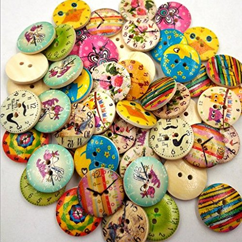 50PCS Color Clock Shape 2 Holes Mixed Wooden Buttons Sewing Craft Scrapbooking