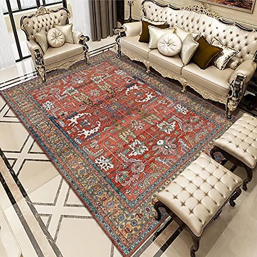 SunYe Ethnischer Europäischer Retro-Bedruckter Teppich wasserdichte Und rutschfeste Gepolsterte Erkermatte Und Bodenmatte Geeignet Für Flur Flur Wohnzimmer
