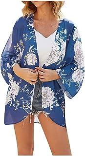 Kimono con Estampado para Mujer Verano Bikini Cover up Pareo Sexy Traje de baño Bikini Cubrir Moda Blusa para en la Playa ...