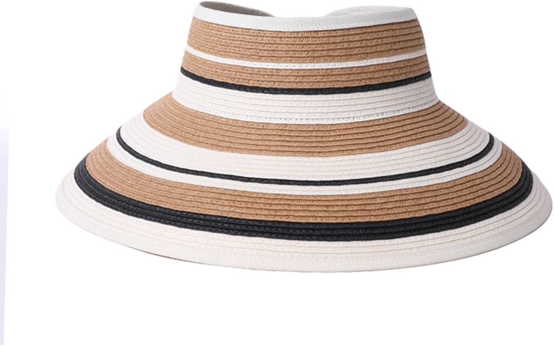 WYGGhat Summer Hat, Sun Hats Women Stripe Design Visor Cap Breathable Straw Braid Wide Brim Portable, 4 colors Optional  & (color   1 )