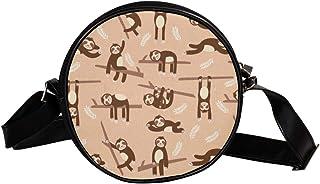 Coosun Umhängetasche mit niedlichem Faultier-Muster, rund, Schultertasche für Kinder und Damen