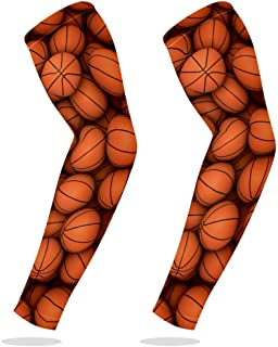 Sports Compression Arm Sleeve Cooling Sun Protection for Baseball Basketball Football Running Driving Cycling for Boys Youth Girls Kids Men Women with Basketballs Ball Sport - 1 Pair
