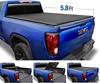 Tyger Auto (Soft Top T3 Tri-Fold Truck Tonneau Cover TG-BC3C1053 for 2019 Chevy Silverado/GMC Sierra 1500 New Body Style (Incl. Denali) | Fleetside 5.8' Bed | for Models Without Utility Track System