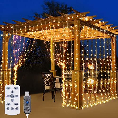 300 LED Curtain Fairy Lights, El...