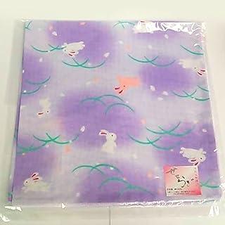 和柄ガーゼハンカチ【つゆ芝うさぎ紫】43×43cm 日本製