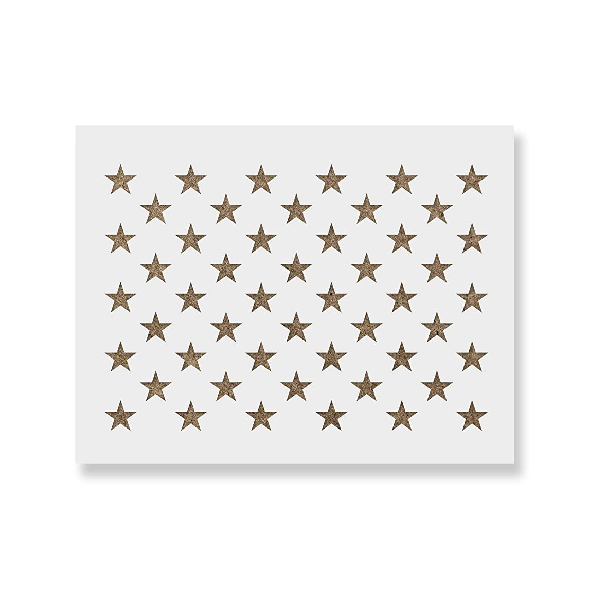 50 Stars Stencil Template - Reusable Stencil of American Flag 50 Stars in Official US Proportions (Actual Dimensions 21.8