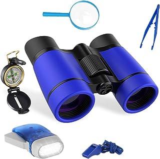 LOVEXIU Kit Explorador niños, Binocularesniños exploración Kit 6 en 1, Prismáticoscompactos, Brújulaniños, Binoculares...